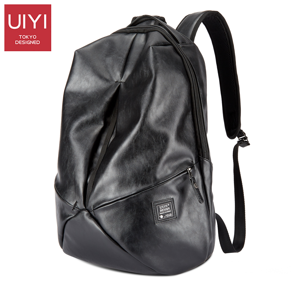 UIYI Backpack PU leather Fashion Men Laptop Backpack Black Travel Shoulder Back bag Rucksack Schoolbag Men's bag#UYB8011 цена