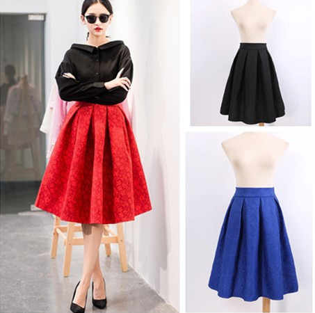 New Vintage Fashion Spring Casual Prints Pleated Long Women Skirts Saias Femininas Formal Ladies Midi Skirt Plus Size In From Womens Clothing