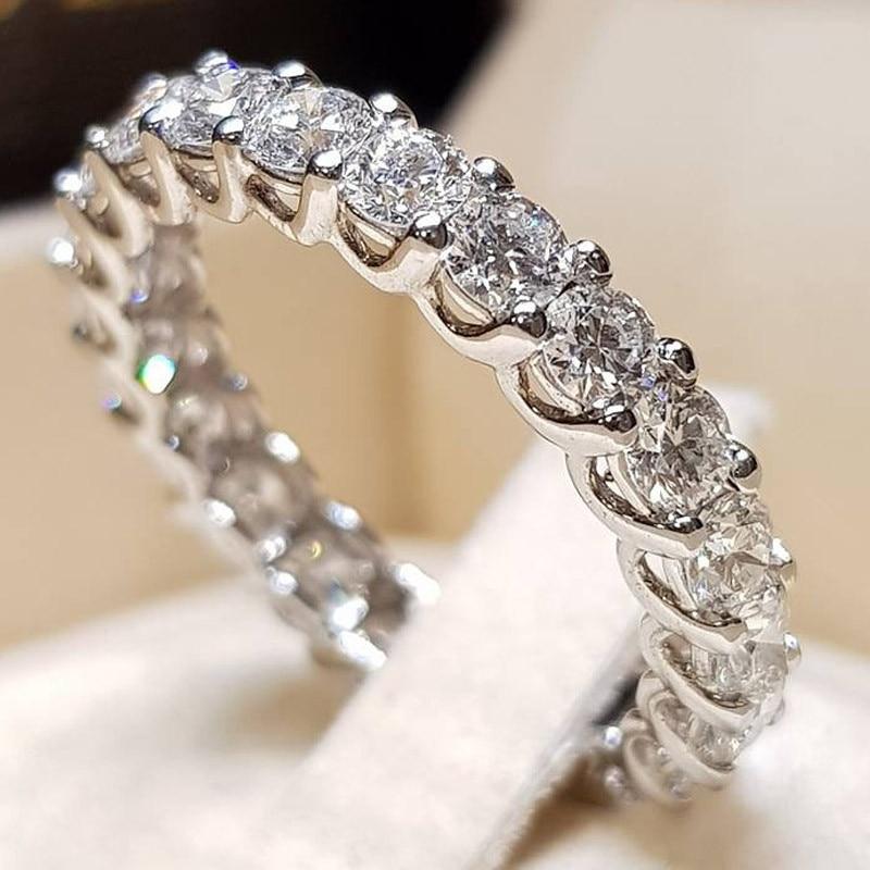 2 шт. свадебный набор элегантные кольца для женщин серебряного цвета Свадебные обручальные модные украшения с полностью блестящим Cubiz женское кольцо с цирконом - Цвет основного камня: F