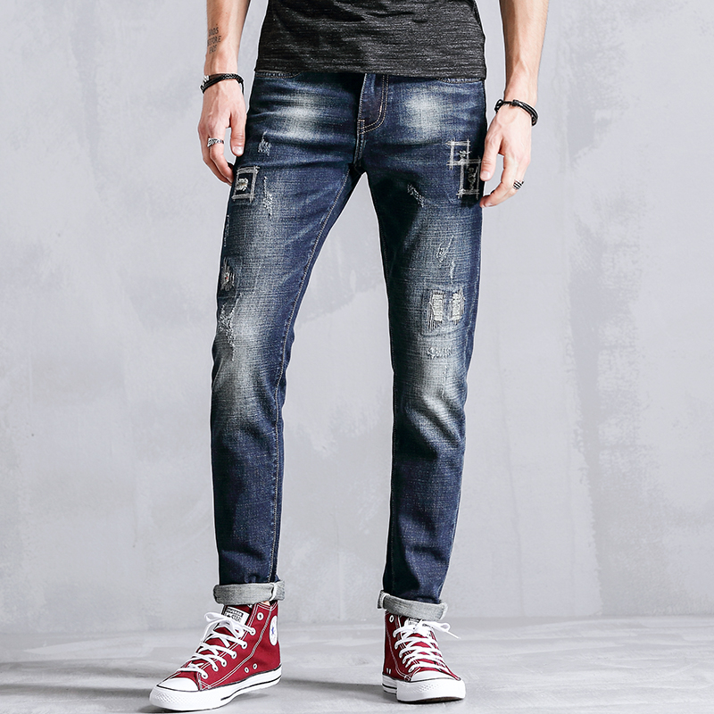 Straight Casual Jeans Men Clothes Fashion Distressed Skinny Male Denim Slim Fit Trousers For Mens Elastic Clothing Brand