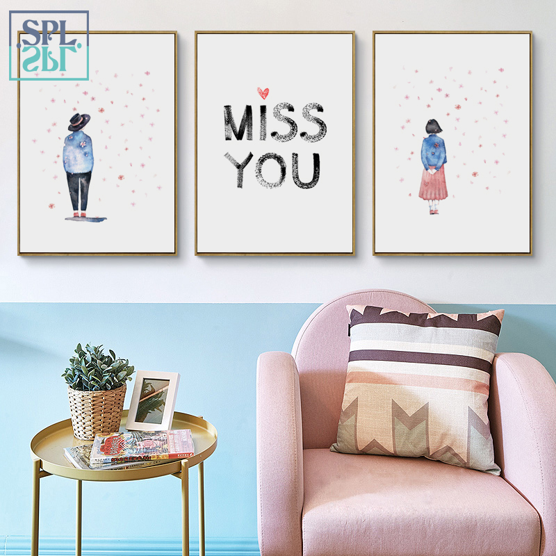 SPLSPL Miss You!Love Letter Abstract Sweet Lovers Painting Print On Canvas Wall Art Picture Home Decoration Without Frame