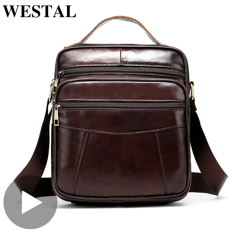 Westal Portable Shoulder Messenger Women Men Bag Genuine Leather Briefcase Office Business Work For Small Handbag Male Female