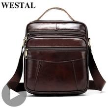Westal Portable Shoulder Messenger Women Men Bag Genuine Leather Briefcase Office Business Work For Small Handbag Male Female недорого