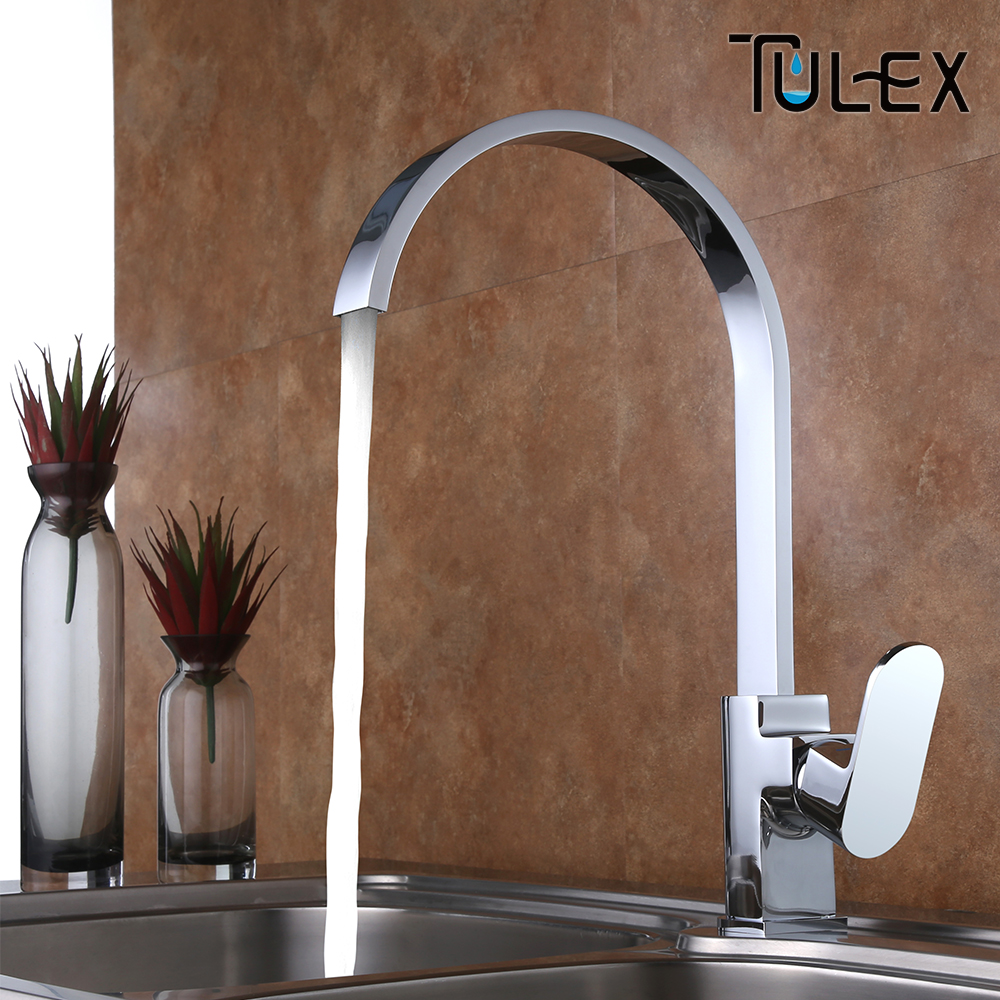 TULEX Kitchen Brass Mixer Kitchen Faucet Tap Hot & Cold Water Mixer Chrome Swivel Spout Tap sink mixer Kitchen Accessories 360 swivel solid brass spring kitchen faucet sink mixer tap swivel spout mixer tap hot and cold water torneira page 1