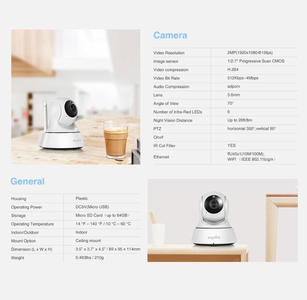 HTB123CydNnaK1RjSZFtq6zC2VXaZ SANNCE 1080P Full HD Mini Wireless Wi-fi Camera Sucurity IP CCTV Camera Wifi Network Surveillance Smart IRCUT Night Vision Cam