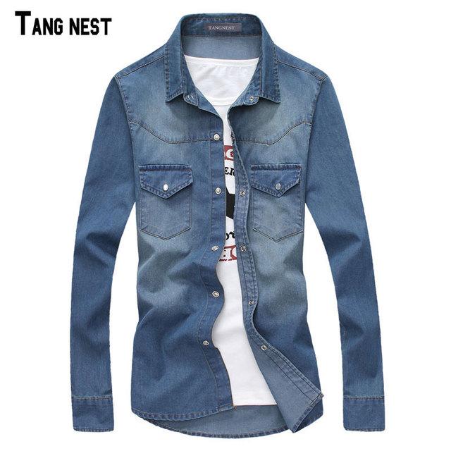 Tangnest hombres camisas de mezclilla estilo de primavera masculina camisa de cuello cuadrado sólido slim fit denim jeans camisa de 3 colores m-xxl mcl1881