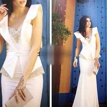 White Mermaid Long Arabic Evening Dresses 2017 Beaded Mother of the Bride Dubai Gowns
