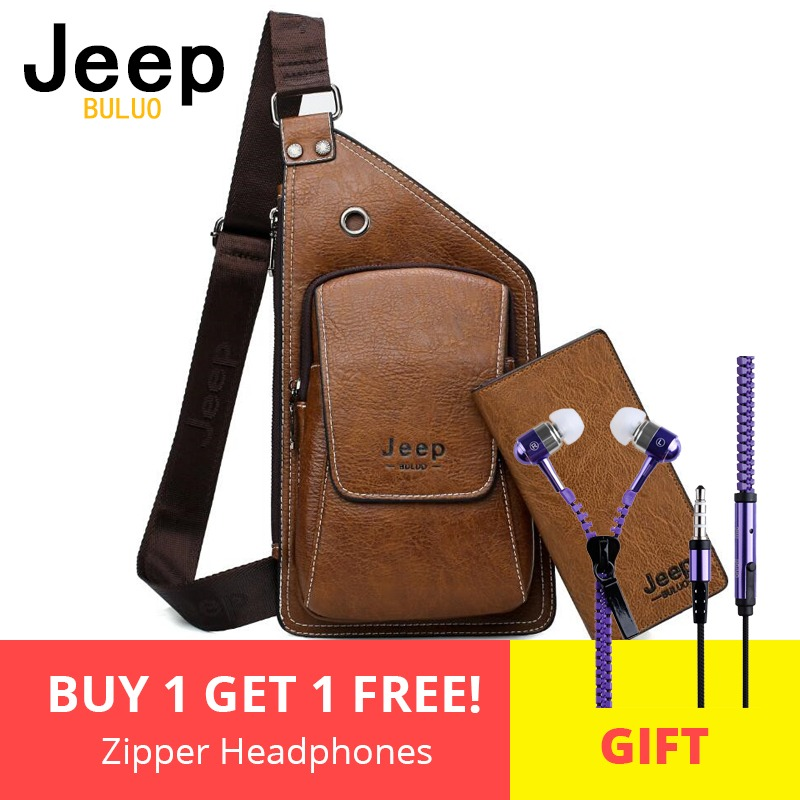 a3e4483c25 Men Chest Bags 2 Pcs Set JEEP BULUO Brand Summer Travel Sling Bag For Man  Split Leather Corss body Bag High Quality Male Bags