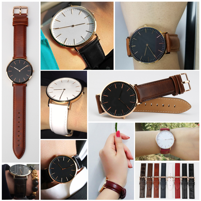 MAIKES Watch Accessories Genuine Leather Watch Strap With Rose Gold Buckle Watchband 20mm For DW Daniel Wellington Watch Band