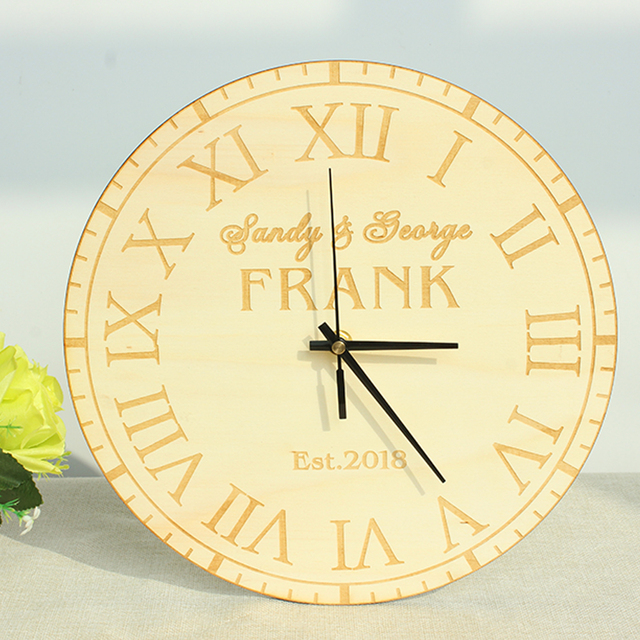 Rustic Wood Personalized Name Wedding Gift Clock Or Anniversary Housewarming