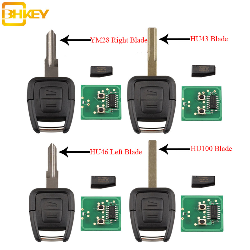 BHKEY 2Buttons Remote Car Key Transponder Chip ID40 For Vauxhall Opel Astra Vectra Zafira HU43/HU100/YM28/HU46 Blade Optional