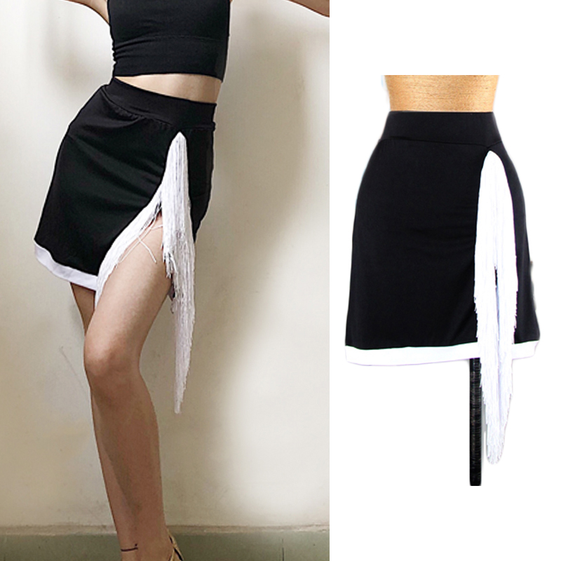 Latin Dance Skirt Lady Sexy Split White Tassel Skirt Women Dancing Clothes Tango Rumba Cha Cha Samba Practice Dancewear DN3563