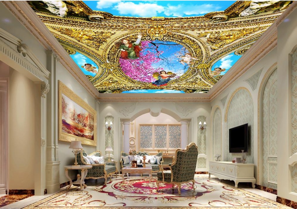 Wall papers Home Decor Customized Murals Non-woven Wallpaper Roll 3d Ceiling Angel Art Living Room Bedroom Ceiling Wallpaper