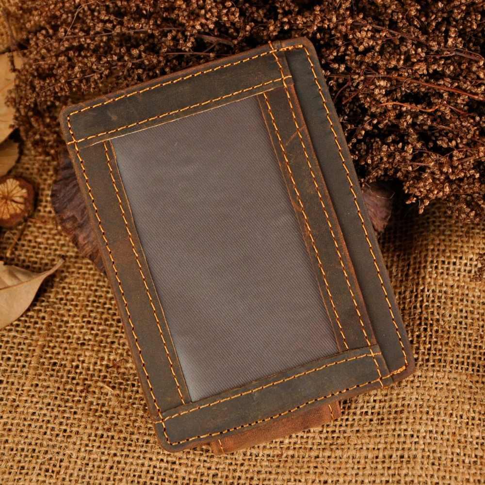 Male Original Leather Designer Fashion Slim Wallet Front Pocket Magnetic Money Clip Mini Credit Card Case Purse For Men 1015