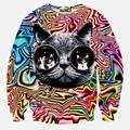XQXON-Street wear women men Psychedelic glasses cat printed 3d Hoodies Sweatshirts High quality Pullover sweatshirt tops
