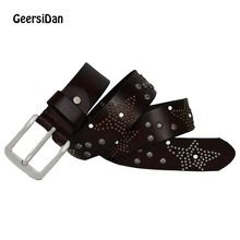 GEERSIDAN Top quality new natural 100% cow leather pin buckle men belt brand genuine leather fashion vintage rivet belt for male