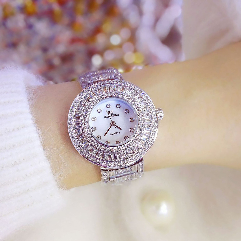 BS bee sister Watch Women Famous Brand Female Golden Clock Austrian Diamond Watches Quartz Silver Ladies WristWatches For Girl wecin f5049 female quartz watch with diamond decoration golden watch case