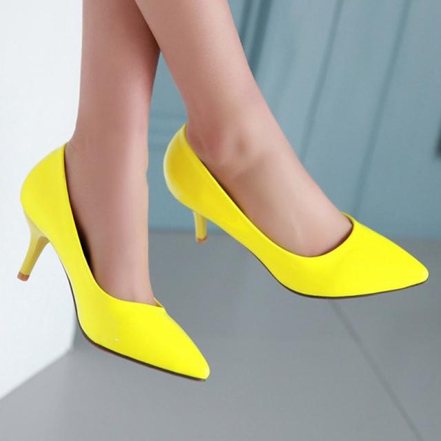 Meotina sapatos mulheres sapatos de salto alto pontas do dedo do pé sapatos amarelos mulher bombas Stiletto Sapatos De Noiva Brancos Senhoras Sapatos Verdes Tamanho 34-39