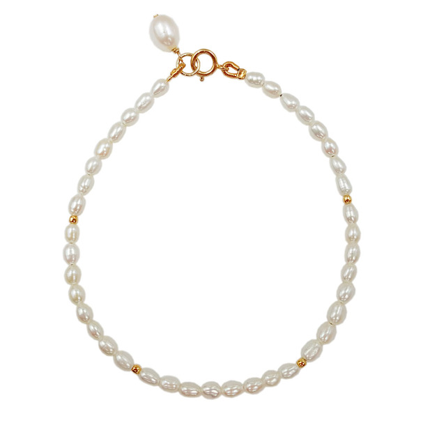 AA+ White Rice Shape Pearl Approx 2-3mm 925 Sterling silver Gold Color Bracelet