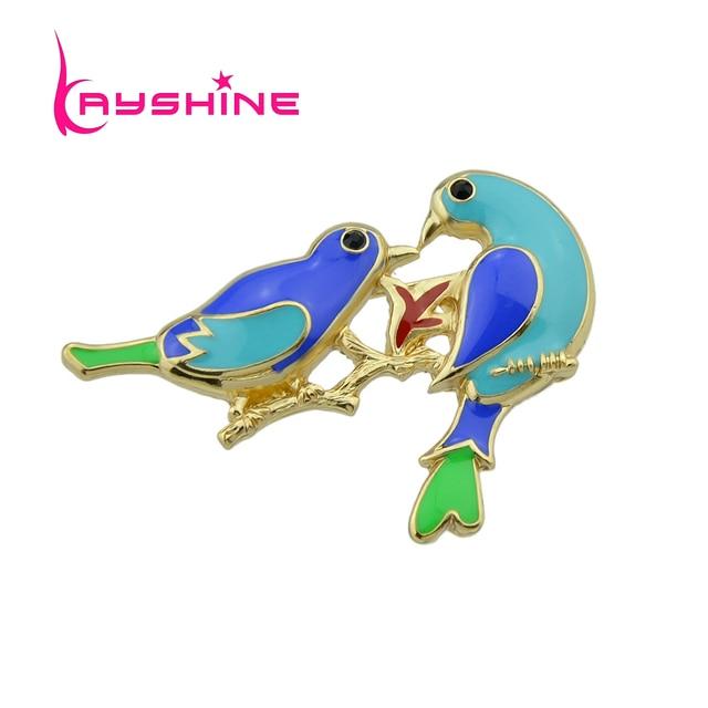 0671936c78c4 Kayshine Animales Broches de Oro Esmalte de Color Con el Azul Verde Banches  Con Dos Pájaros