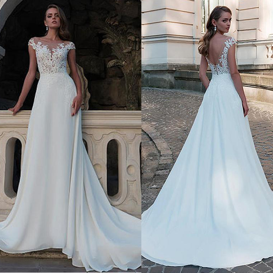 Fashionable Chiffon Bateau Neckline A-Line Wedding Dress With Beading & Lace Appliques Open Back Bridal Gowns