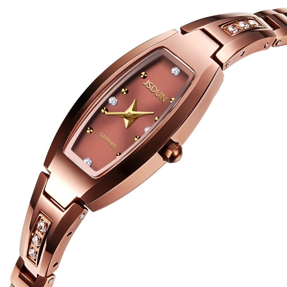 Luxury JSDUN Rose Gold Female Watch UltraThin Diamond Tungsten Steel Quartz Waterproof Ladies Watches Relogio Feminino 2018 NEW