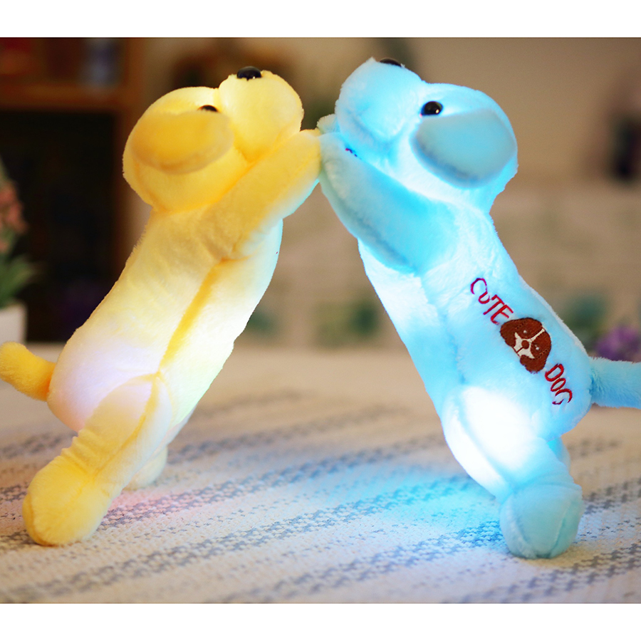 35cm Plush dog doll with colorful LED light glowing dogs with embroidery children toys for girl kids birthday gift  YYT221 colorful led plush toys with music and sound light emitting pillow high quality dog