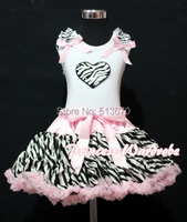 Valentine White Pettitop Top in Pink Ruffles Heart and Pink Zebra Pettiskirt Girl Set 1-8Y MAPSA0243