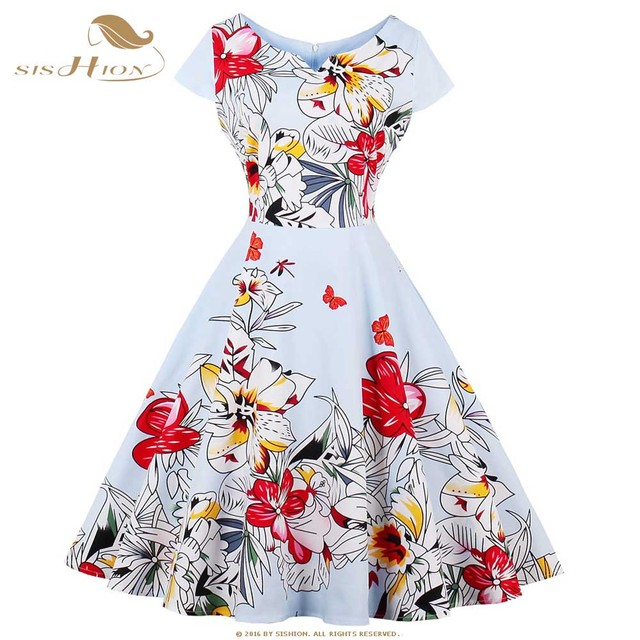 dca5fa228a78f SISHION Women Vintage Rockabilly Floral Dress 2018 Summer Tunic Retro  Office Casual Party Pin up Big Swing Skater Dress VD0610