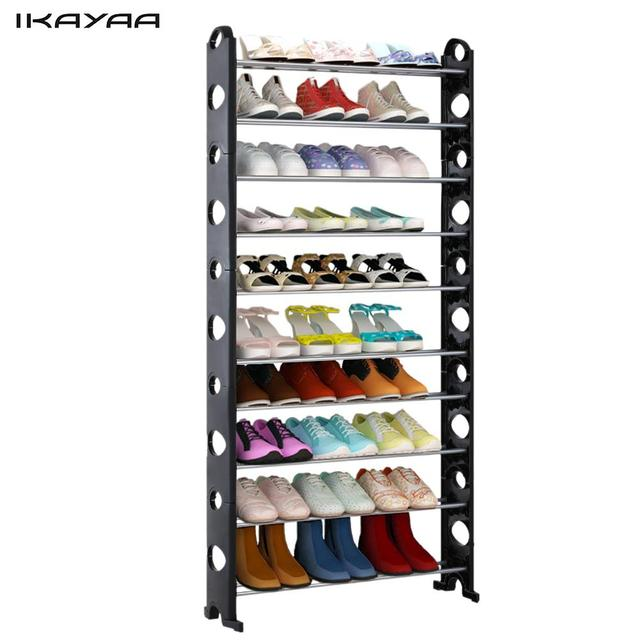 IKayaa Portable 10 Tier Standing Shoe Rack Organizer Tower Stackable Shoes  Storage Shelf For 40 Pairs