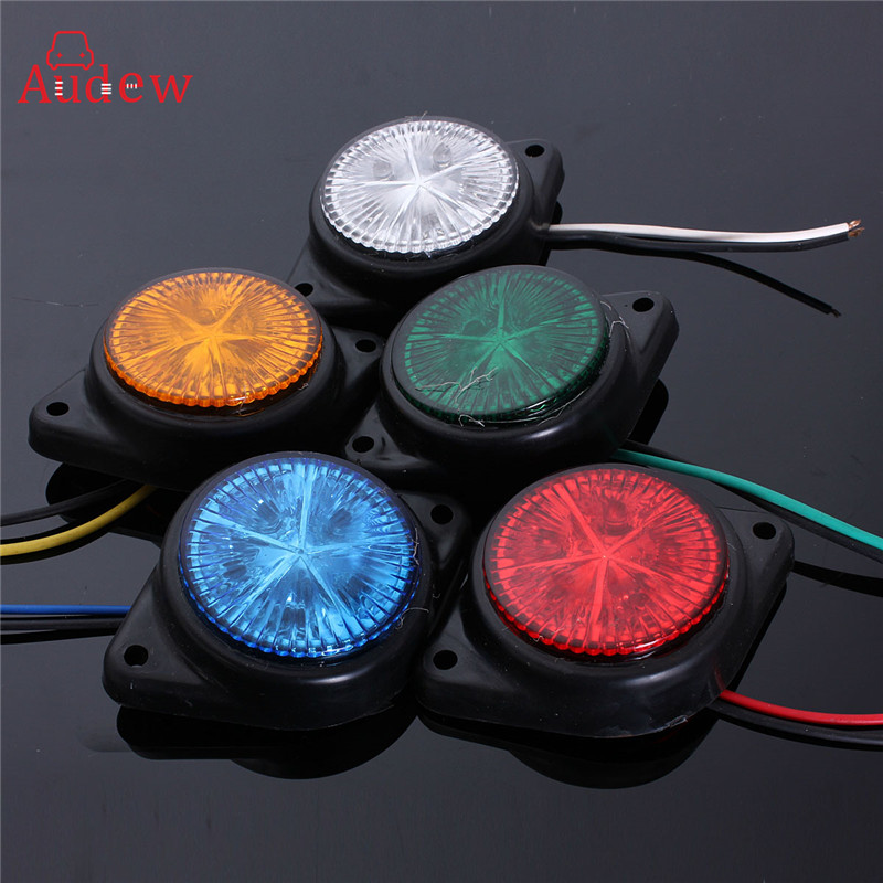 2Pcs Round Side Marker LED Lights Indicator Lamps Van Car Truck Trailer 12V Side Turn Signal Lights Warning Light