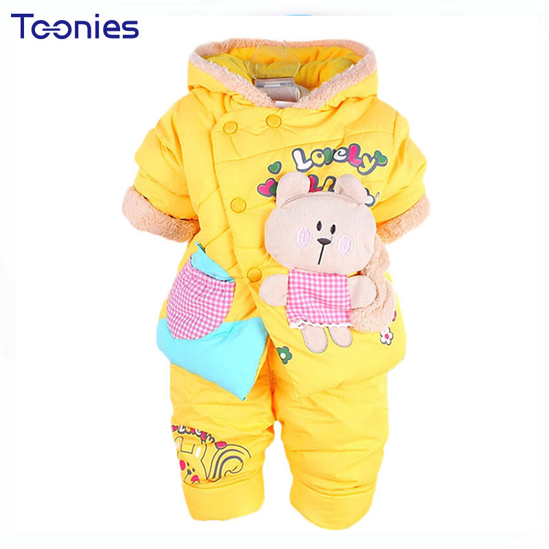 Infant Girl Pants Suits Warm Cotton Baby Girls Clothes 2017 Winter Kids Clothing Sets Cartoon Print Hoody Suit Child Sportswear елена александровна власова ряды
