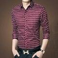 Большой размер м-5xl мужские рубашки с длинным рукавом плед кнопка - до рубашка тонкий мужской одежды высокое качество сплошной мода свободного покроя рубашки