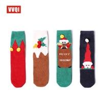 Vvqi 2017 4 пары красота Носки для девочек Рождество теплые коралловые бархатные толстые эластичность Для женщин Носки для девочек зимние удобн...