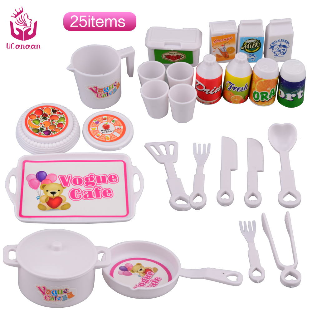 UCanaan Classic Toys 25 pcs Plastic Educational Toy DIY Dinner Set for Barbie Doll Children Baby Pretend Play Kitchen Food Toys
