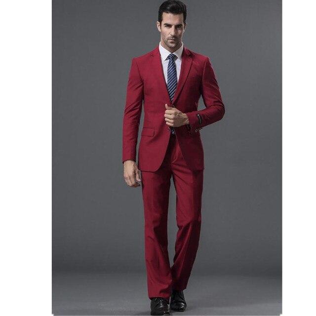 ab90061c55a16 Nuevos trajes de hombre Formal ocasiones hombres traje de alta calidad vino  tinto cuello de un