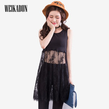 WEIKADUN 2017 Summer Women Lace Dress Black White Casual Sexy Sleeveless Mesh lace dress See Through Beach Dresses   L167