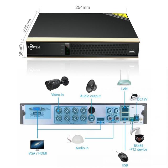 Movols 8CH système de caméra de vidéosurveillance 8 pièces 1080p caméra de Surveillance de sécurité DVR kIt étanche système de Surveillance vidéo à domicile en plein air