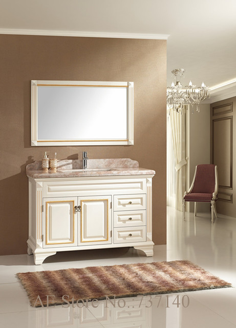 Bianco mobili in legno massiccio e marmo mobili mobili da bagno mobiletto del bagno mobili - Mobili bagno legno massiccio ...