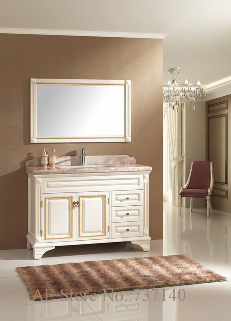 White Furniture Solid Wood And Marble Furniture Bathroom