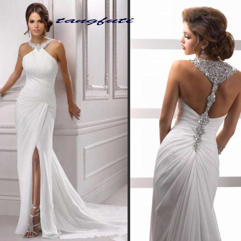 Robes de soirée sirène blanche scintillant cristal perles robe de bal licou fente sans manches en mousseline de soie formelle robe de soirée