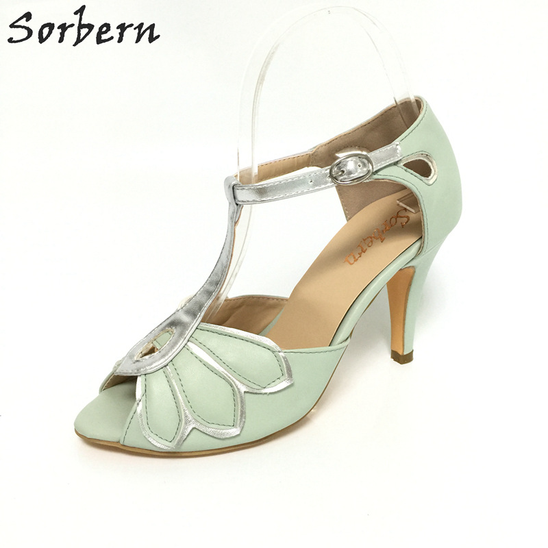 Sorbern leaves wedding shoes t-straps open toe runway shoes high heels 2017 summer sandals for women custom colors size 33-46 more colors custom handmade ivory lace wedding shoes for women high heeled size 9
