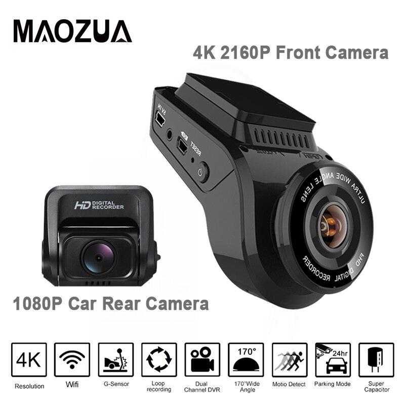 Date Dash Cam Voiture DVR Caméra 2 pouce 4 k 2160 p avec 1080 p Arrière Cam 170 Degrés Double objectif Dash Caméra Enregistreur Avec GPS Intégré