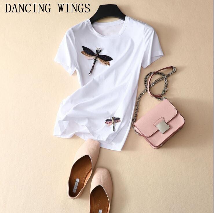 T-shirt décontracté femmes 2019 printemps été à la main perles motif libellule coton T-shirt noir blanc haut pour femme