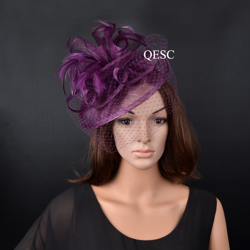 2019 NEW plum purple sinamay fascinator wedding hats for women with feathers and veil for races,party,Kentucky Derby.QF079