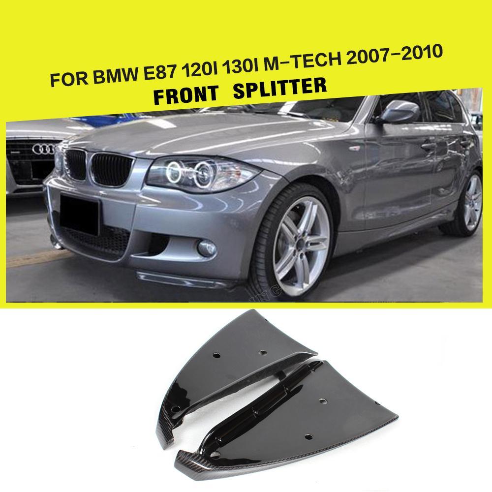Car-Styling Carbon Fiber Front Side Splitter Aprons Flags For BMW E87 M Tech M Sport Bumper 2007-2010 carbon fiber frp unpainted car front bumper lip aprons splitters flaps for bmw 1 series e87 m tech m sport bumper 07 10 2pcs set