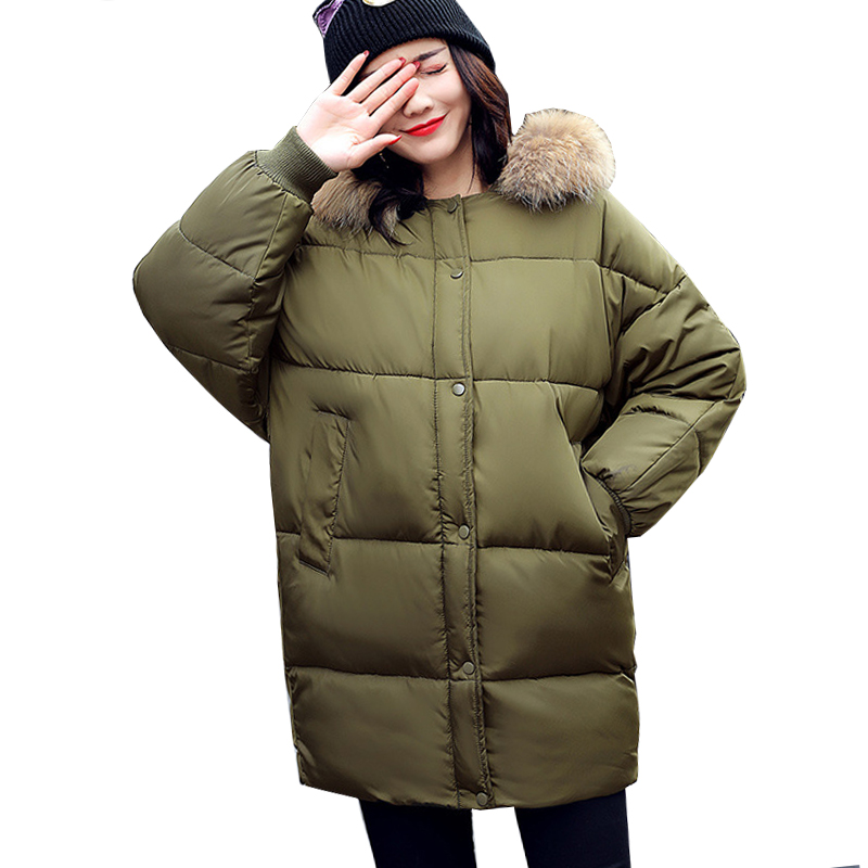 Winter Jacket Fat 125kg Women Cotton Coat Plus Size Fur Collar Hooded Parka Female Long Slim Quilted Jackets Zipper Warm Outwea winter jacket men 2016 brand parka plus size men s hooded parka zipper quilted coat casual jackets