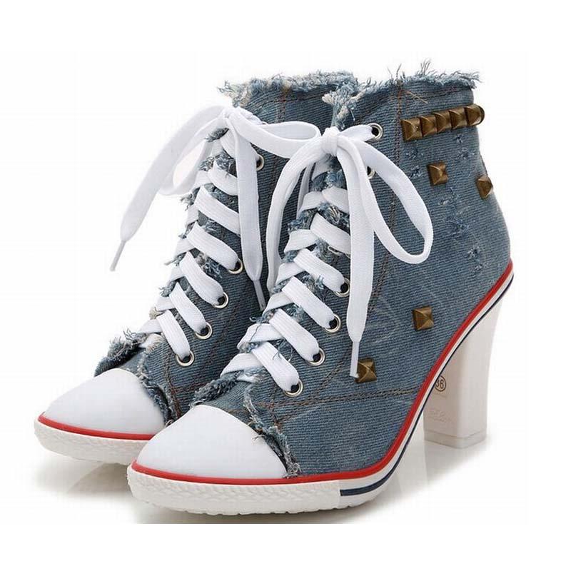 ФОТО women 2016 fashion punk rivets thick high heels canvas pumps lace up women high heeled shoes breathable denim ladies lacing shoe