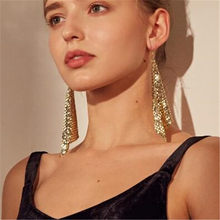 Trendy New Brand Sequin Drop Earrings For Woman Statement Creative Cheap Dangle earring Fashion Women Ear Jewelry Brincos New(China)
