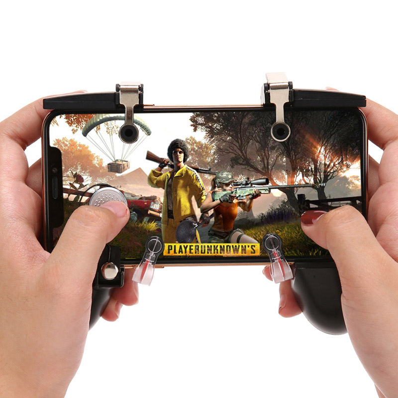Image 4 - Six finger linkage PUBG Mobile Game Controller Gamepad Trigger Fire Button Aim Button L1 R1 Shooter Joystick For iphone Android-in Gamepads from Consumer Electronics
